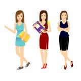 Ajuste o trabalhador de escritório da mulher em várias situações Fotos de Stock