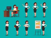 Ajuste o trabalhador de escritório da mulher em várias situações Illustrati do vetor Fotos de Stock Royalty Free