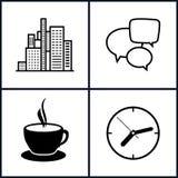 Ajuste o trabalho e a vida empresarial de escritório dos ícones Fotografia de Stock Royalty Free