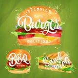 Ajuste o verde do hamburguer ilustração do vetor