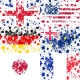 Ajuste o vetor Eanglish, EUA, alemão, grung de Austrália, Japão, França Fotos de Stock Royalty Free