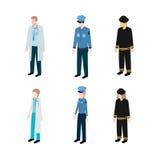 Ajuste ocupações polícia, sapadores-bombeiros e doutores Fotografia de Stock Royalty Free