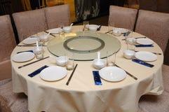 Ajuste oriental de la tabla del restaurante Imagenes de archivo