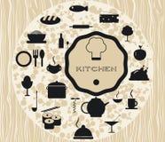 Ajuste os ícones da cozinha que cozinham alimentos Fotos de Stock Royalty Free