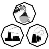 Ajuste os ícones da indústria de carvão ilustração do vetor
