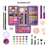 Ajuste os cosméticos da mulher, lisos, composição do olho Loja da beleza Fotos de Stock