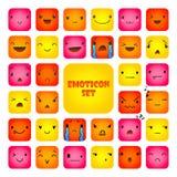 Ajuste os Emoticons 4 do quadrado ilustração do vetor