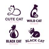 Ajuste os gatos da ilustração do logotipo, projeto do emblema do animal de estimação no fundo branco Imagens de Stock Royalty Free