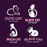 Ajuste os gatos da ilustração do logotipo, projeto do emblema do animal de estimação no fundo preto Imagens de Stock