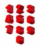 Ajuste os números 3D vermelhos ajustados Zero a dez Ilustração do vetor ilustração do vetor