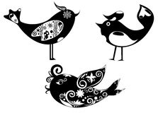 Ajuste os pássaros, decorados com um teste padrão decorativo com ornam floral imagem de stock royalty free