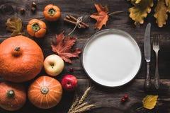 Ajuste otoñal de la tabla para la cena o Halloween de la acción de gracias Imagen de archivo libre de regalías