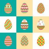 Ajuste ovos da páscoa coloridos dos ícones Fotografia de Stock