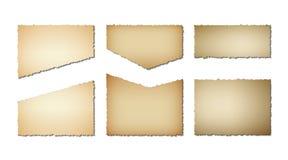 Ajuste papel velho das bordas rasgadas Textura do Grunge do papel velho no fundo branco Ilustração do vetor ilustração do vetor