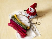 Ajuste para o bordado, linha colorida, tesouras, almofada de alfinetes, agulha Fotografia de Stock Royalty Free