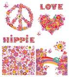 Ajuste para o papel de parede da hippie com borboletas engraçadas, as flores coloridas e os cogumelos, símbolo das flores da paz, Foto de Stock