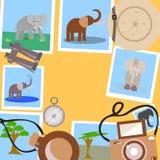 Ajuste para o safari em um fundo amarelo ilustração do vetor