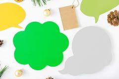 Ajuste pensamentos do ícone, árvore de Natal, preço, cones, laranja, bal Fotografia de Stock