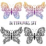 Ajuste pictograma do contorno das borboletas Fotos de Stock Royalty Free