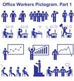 Ajuste pictograma dos trabalhadores de escritório do vetor Ícones do negócio e símbolos dos povos Imagens de Stock
