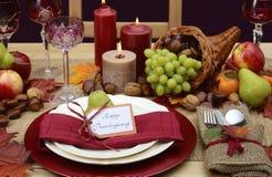 Ajuste rústico de la tabla de la acción de gracias del estilo rural Imagen de archivo libre de regalías