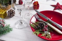 Ajuste rojo romántico de la tabla de la Navidad Foto de archivo