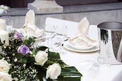 Ajuste romântico da tabela Fotos de Stock Royalty Free