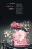 Ajuste romântico da tabela do dia do Valentim Foto de Stock Royalty Free