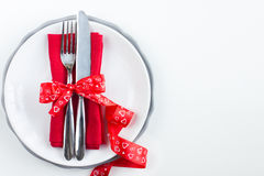 Ajuste romântico da tabela para o dia de são valentim Imagem de Stock Royalty Free