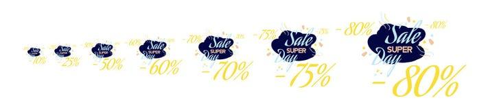 Ajuste a rotulação da cor para o sinal da oferta da venda especial Ilustração lisa Eps 10 Imagem de Stock Royalty Free