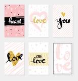 Ajuste a rotulação do amor do cartão para o cartaz ilustração do vetor