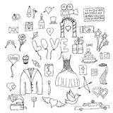 Ajuste símbolos e sinais do casamento Fotografia de Stock Royalty Free