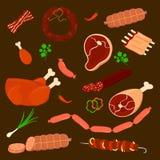 Ajuste a salsicha e as carnes do vetor salsicha cortada na coleção marrom do vetor do fundo Fotografia de Stock Royalty Free