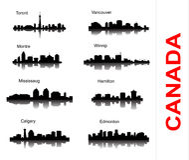 Ajuste a silhueta da cidade em Canadá Fotografia de Stock Royalty Free