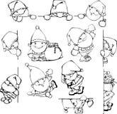 Ajuste silhuetas de Santa Claus Fotos de Stock