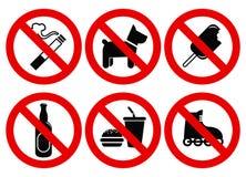 Ajuste sinais proibidos Foto de Stock Royalty Free