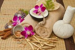 Ajuste tailandés del masaje del balneario, aceite del masaje, exfoliante corporal, toallas, Cinna foto de archivo libre de regalías