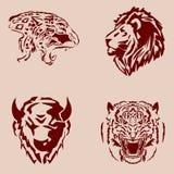 Ajuste tatuagens do tema dos animais selvagens Fotos de Stock Royalty Free