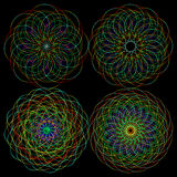Ajuste testes padrões do fractal das linhas de entrelaçamento caóticas de néon ilustração royalty free
