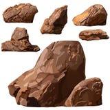 Ajuste tirado uma variedade de pedras do marrom Imagens de Stock Royalty Free