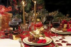 Ajuste tradicional da tabela do Natal. Fotografia de Stock