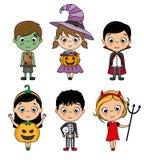Ajuste trajes o Dia das Bruxas das crianças ilustração royalty free