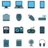 Ajuste uma variedade de dispositivos das técnicas no estilo liso Foto de Stock