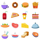 Ajuste uma variedade de fastfood do alimento, da água e da carne Imagens de Stock