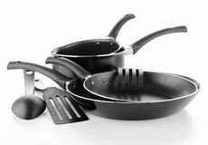 Ajuste utensílios da cozinha Fotos de Stock Royalty Free