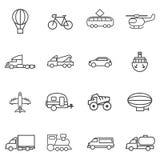 Ajuste a variedade de linhas de transporte em um fundo branco Imagem de Stock
