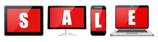 Ajuste a venda da tabuleta e do telefone do portátil do caderno Imagem de Stock Royalty Free