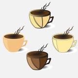 Ajuste xícaras de café no vetor ilustração stock