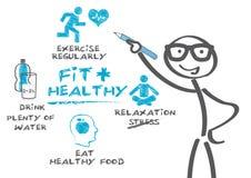 Ajuste y sano stock de ilustración