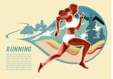 Ajustes da menina do esporte e vetor running do ilustrador da fuga firme ilustração stock